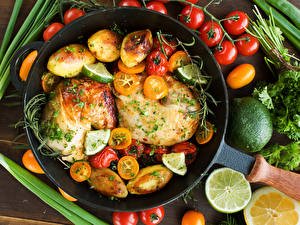 Wallpaper Meat products Roast Chicken Vegetables Potato Tomatoes Lemons Frying pan Food