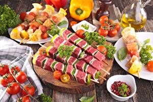 Papel de Parede Desktop Produtos de carne Shashlik Hortaliça Tomate comida