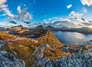 Hintergrundbilder Norwegen Gebirge See Himmel Wolke Senja Island Natur