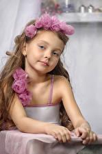 Photo Roses Little girls Modelling Staring Children