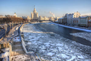Picture Russia Moscow Houses Rivers Winter Ice Staircase Canal Zaryadye Cities