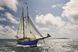 Wallpapers Sailing Sea Sky Yacht Clouds