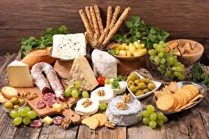 Bilder Wurst Käse Weintraube das Essen