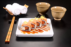 Pictures Seafoods Sushi Gray background Chopsticks Food