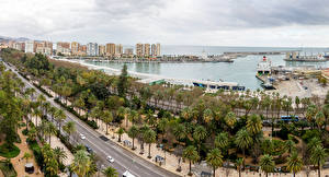 Hintergrundbilder Spanien Gebäude Küste Straße Bootssteg Bucht Palmengewächse El Bulto Malaga Andalusia Städte
