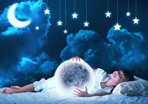 Bilder Stern Halbmond Kleine Mädchen Nacht Wolke Mond Kinder