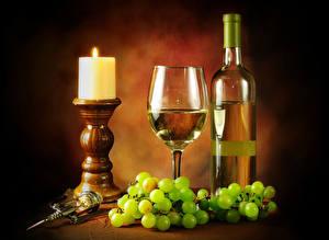 Fotos Stillleben Kerzen Wein Weintraube Weinglas Flasche
