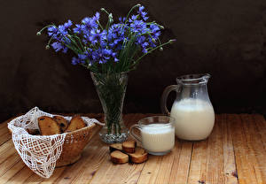 Pictures Still-life Centaurea Milk Bread Vase Wood planks Pitcher Cup Food Flowers