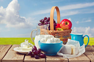 Pictures Still-life Quark curd cottage farmer cheese Cheese Grapes Fruit Boards Wicker basket Jug container Oil Food