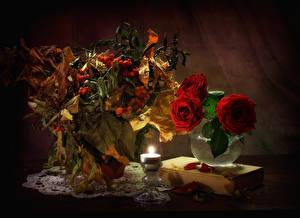Hintergrundbilder Stillleben Rosen Eberesche Kerzen Vase Rot Blattwerk Buch Blumen