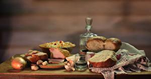 Wallpaper Still-life Vodka Bread Ham Onion Garlic Shot glass