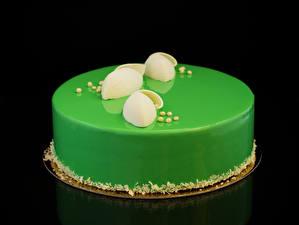 Fotos Süßware Torte Schwarzer Hintergrund Design Gelbgrüne Lebensmittel