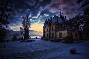 Hintergrundbilder Schweiz Winter Burg Abend Himmel Schnee Strauch Hunegg Castle Hilterfingen Städte
