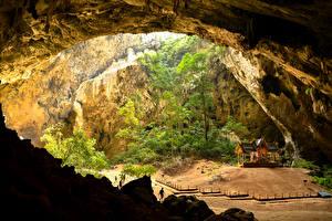 壁纸、、タイ王国、パゴダ、洞窟、木、Phrayanakhon Cave、自然