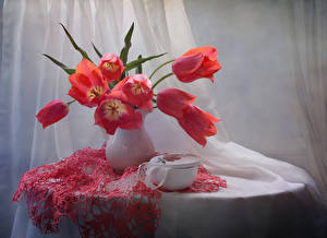 Hintergrundbilder Tulpen Tisch Vase Rot Blumen