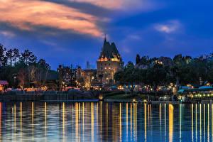 Hintergrundbilder USA Park Haus Teich Abend Florida Design Disney World Epcot Orlando Städte