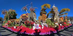 Fotos Vereinigte Staaten Park Skulpturen Elefanten Rosen Kalifornien Design Pasadena Natur