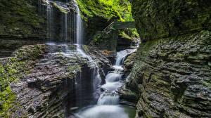 Bilder Vereinigte Staaten Park Wasserfall Felsen Laubmoose Watkins Glen State Park Natur