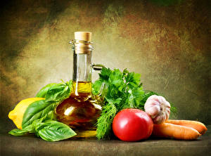 Image Vegetables Tomatoes Garlic Carrots Bottles Oil Food