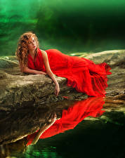 Photo Water Redhead girl Frock Red Girls