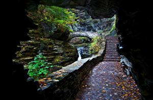 Wallpaper Waterfalls Caves Leaf Stairway