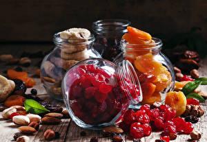 Bilder Aprikose Nussfrüchte Weckglas Trockenobst Dörrobst Lebensmittel