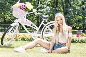 Hintergrundbilder Sträuße Blondine Sitzend Fahrräder Weidenkorb Starren Hübsch junge frau