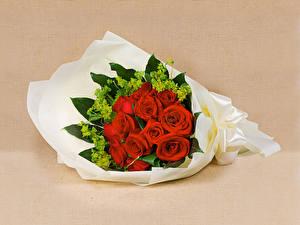 Fondos de escritorio Ramos Rosas Rojo Fondo de color Flores