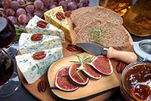 Bilder Brot Käse Echte Feige Schalenobst Messer Schneidebrett