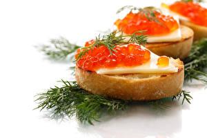Hintergrundbilder Butterbrot Meeresfrüchte Kaviar Dill Weißer hintergrund das Essen