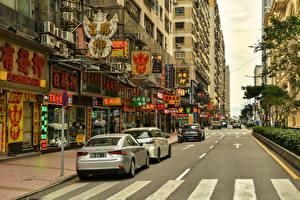 Bakgrundsbilder på skrivbordet Kina Hus Väg Gate Macao Städer