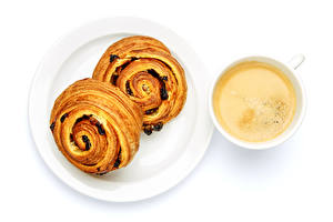 Wallpaper Coffee Cappuccino Buns White background Cup Plate