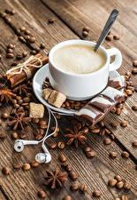 Picture Coffee Star anise Illicium Cinnamon Chocolate Cappuccino Boards Cup Grain Headphones Sugar
