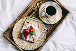 Wallpapers Coffee Strawberry Breakfast Cup Plate Spoon