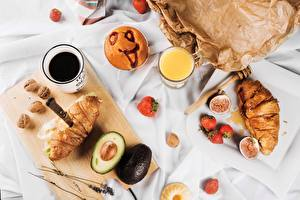 Wallpapers Croissant Coffee Avocado Breakfast