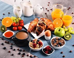 Bilder Croissant Müsli Fruchtsaft Tasse Frühstück
