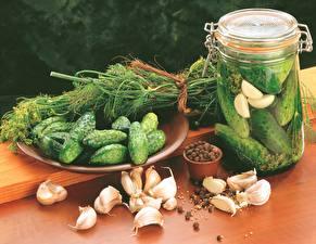 Fotos Gurke Knoblauch Dill Einweckglas Lebensmittel