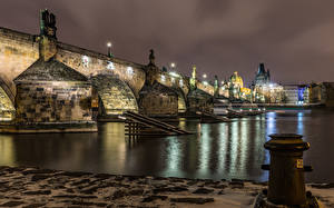 Wallpaper Czech Republic Prague Houses Rivers Bridge Sculptures Charles Bridge Street lights Night Cities