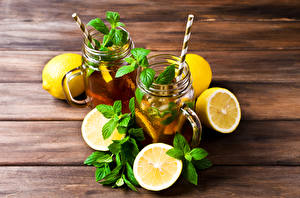 Picture Drinks Lemons Boards 2 Leaf Mint Food