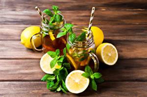 Picture Drinks Lemons Wood planks 2 Leaf Mint Food