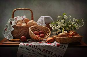 Bilder Ostern Feiertage Zwiebel Weidenkorb Ei Ast Lebensmittel