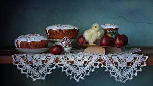 Bilder Ostern Backware Kulitsch Kücken Tisch Ei