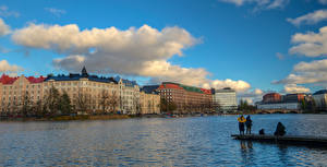 Hintergrundbilder Finnland Helsinki Haus Flusse Fischerei Seebrücke