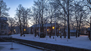 Picture Finland Building Winter Evening Trees Snow Street lights Naantali Cities
