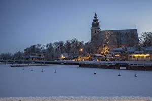Wallpapers Finland Building Winter River Marinas Evening Snow Naantali Cities