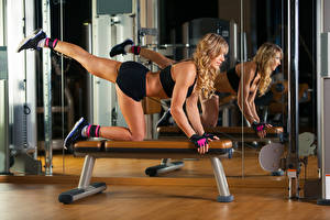 Pictures Fitness Blonde girl Workout Legs Mirror Girls Sport