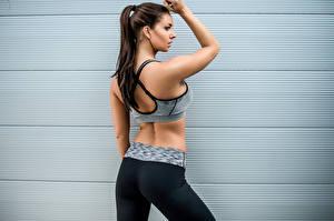 Hintergrundbilder Fitness Braunhaarige Rücken junge frau Sport