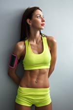 Hintergrundbilder Fitness Grauer Hintergrund Bauch Mädchens Sport