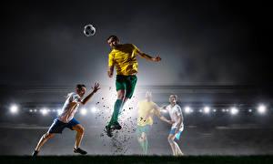 Fotos Fußball Mann Sprung Ball Sport