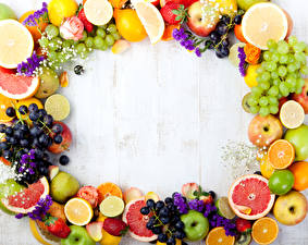 Image Fruit Grapes Citrus Apples Pears Strawberry Wood planks